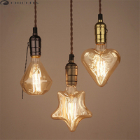 Edison Bulb Light Fixture E27 Vintage Filament Bulb Lampen 40W AC220V Incandescent Tungsten Filament Lamp Lampada
