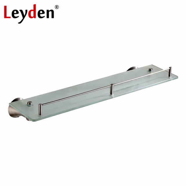 Leyden Brushed Nickel Single Tier Bath Shelf Bathroom Shelves Shampoo  Holder Wall Mounted Stainless Steel Bathroom
