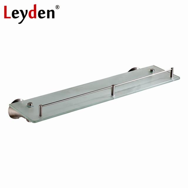 Leyden Brushed Nickel Single Tier Bath Shelf Bathroom Shelves