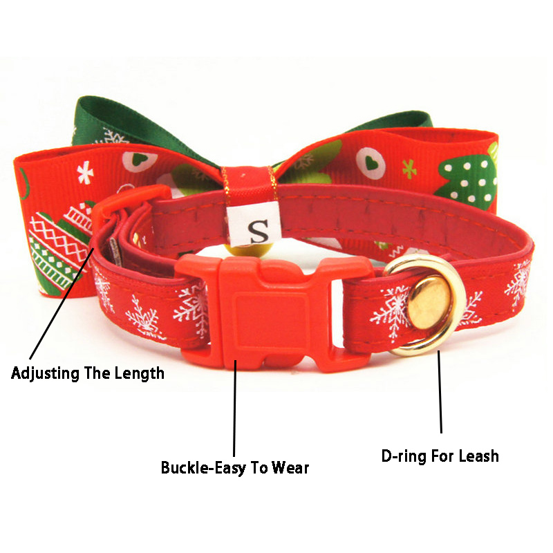 christmas cat dog collar bows with bell adjustable pet collar christmas cat dog bow tie bell pet supplies cat dog accessories in collars from home garden