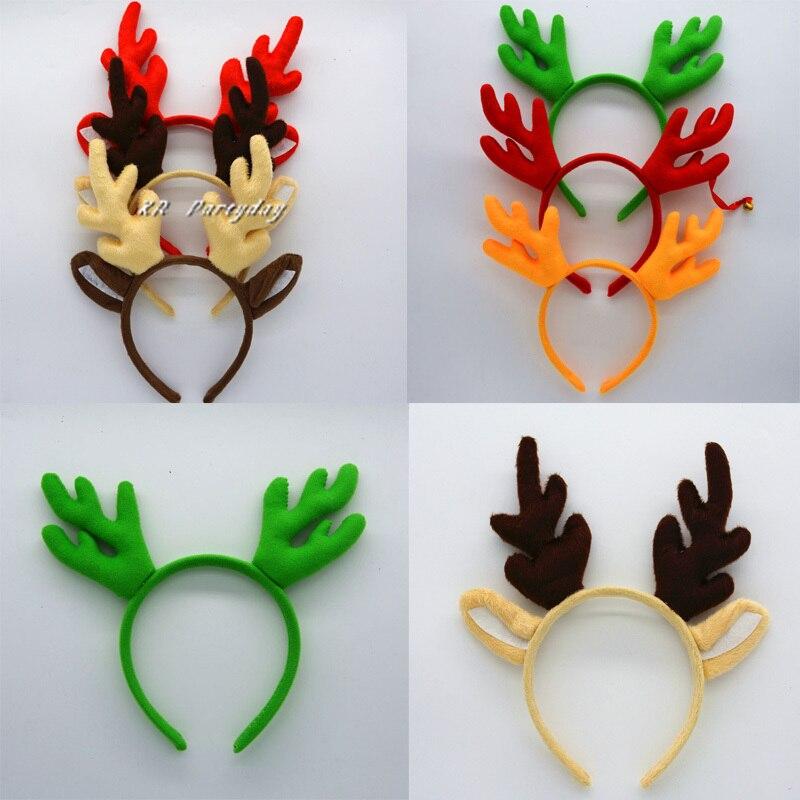 Woman Girls Feather Reindeer Elk Antlers Horn Headband Kids Adult Headwear Wedding Party  Hair  Halloween Christmas