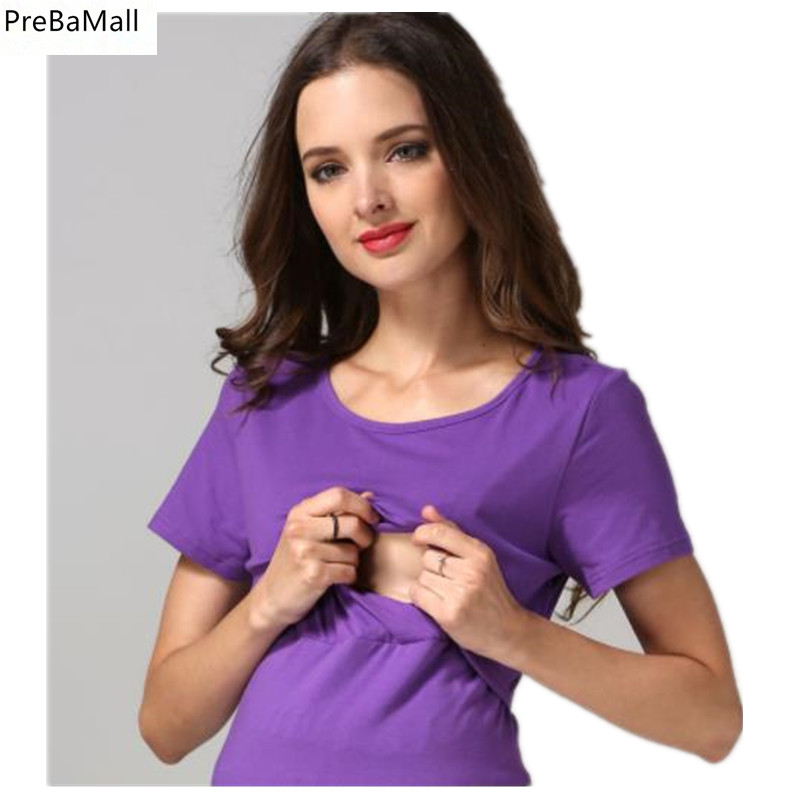 Maternity Nursing Tops Summer Breastfeeding Clothing For Pregnancy Women Cotton Short Sleeve Loose Tees Five Colors D0024 in Tees from Mother Kids