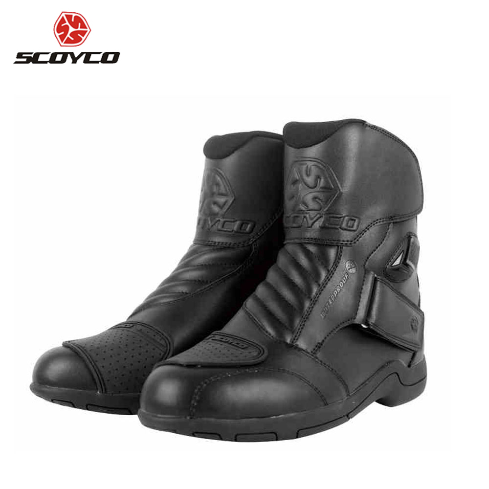 SCOYCO Motorcycle Boots Racing Leather Waterproof Motocross Boots Motorbike Short Riding Road Speed Professional Botas MBT011W