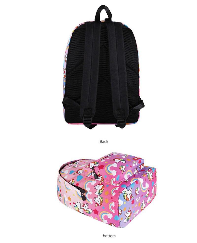 Unicorn 3D Printed Casual School Backpack Women Set 12