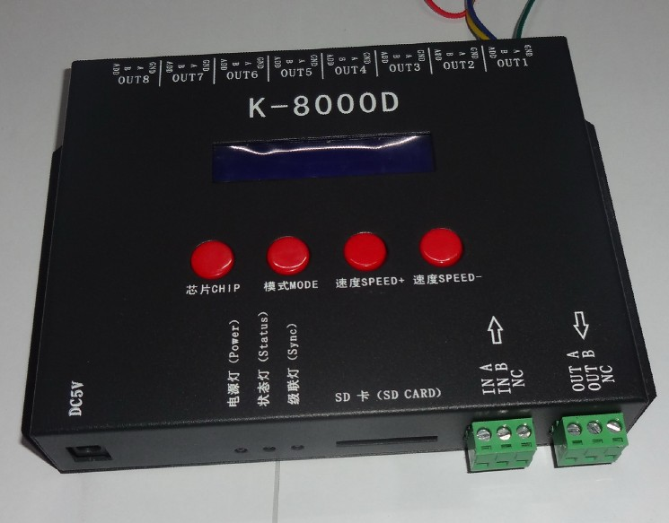 K-8000D;8ports(512pixels*8)DMX SD card pixel controller;support standard dmx512 chip/DMX512AP-N/WS2821A;address writer function