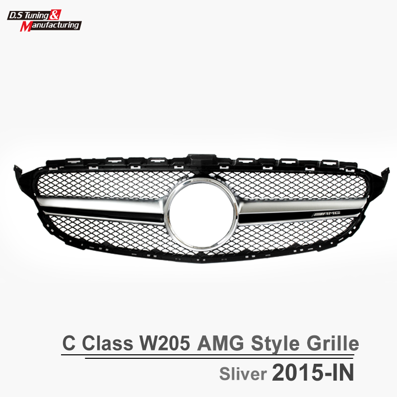 Mercedes c class w205 amg c63 style front grill grille mesh for benz 2015 16 w205 amg package - Grille indiciaire 2015 categorie c ...