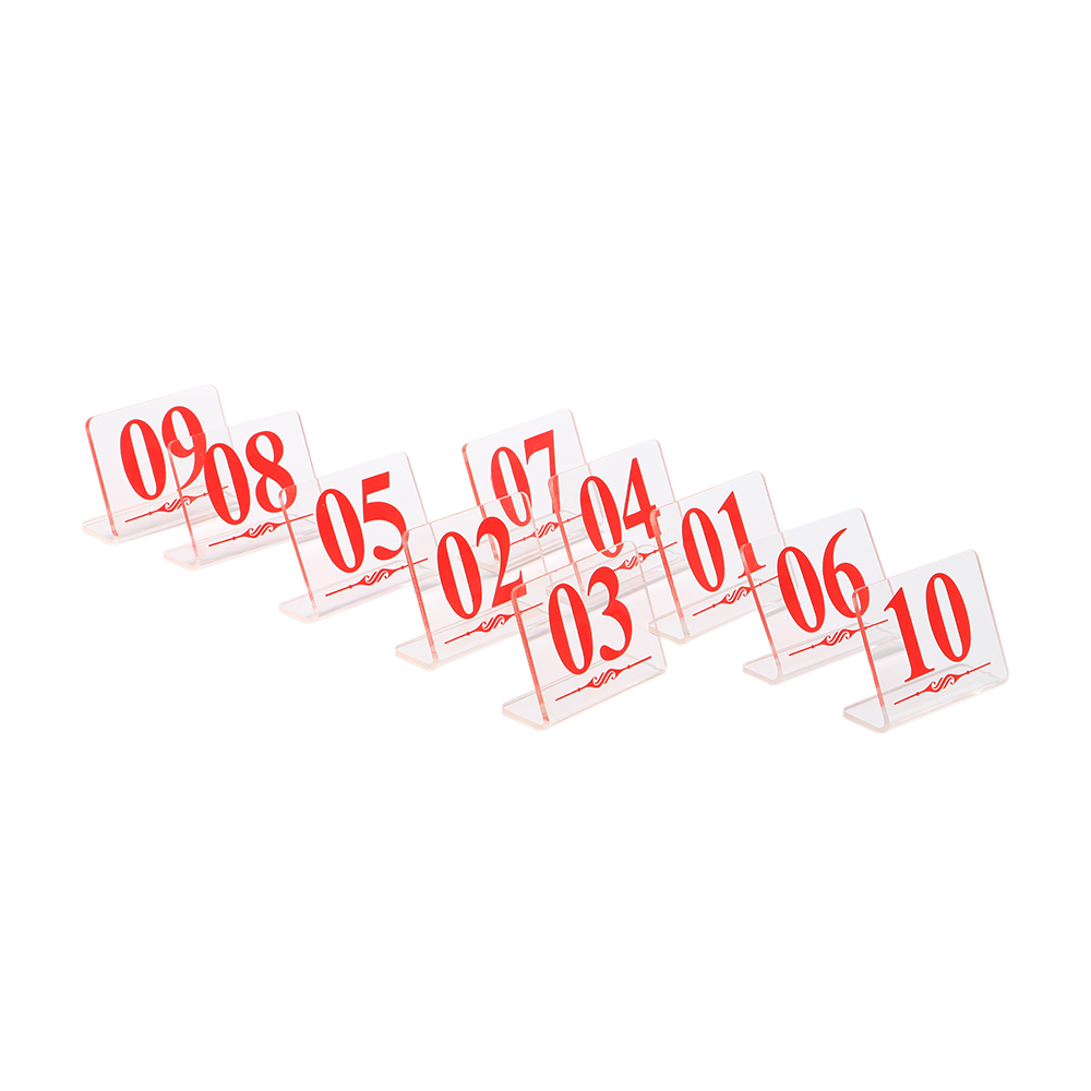Steady 10pcs Restaurant Table Number Stand Acrylic Digital Seat Signage Rack Hotel Desk Sign Display Acrylic Sign Red Number L Stand Latest Fashion Office & School Supplies Desk Accessories & Organizer