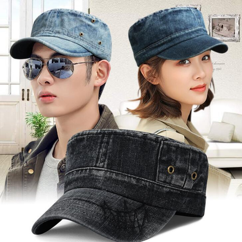 Unisex denim military hat for women and men adjustable jeans flat cap summer snapback hat army cap in Men 39 s Military Hats from Apparel Accessories