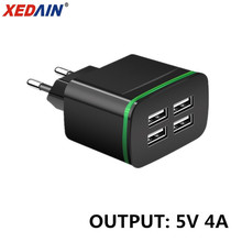 XEDAIN 4 USB Ports Phone Charger 5V 4A Charge EU Plug Travel Wall Adapter With LED Light Charging for Mobile Tablet Mp3