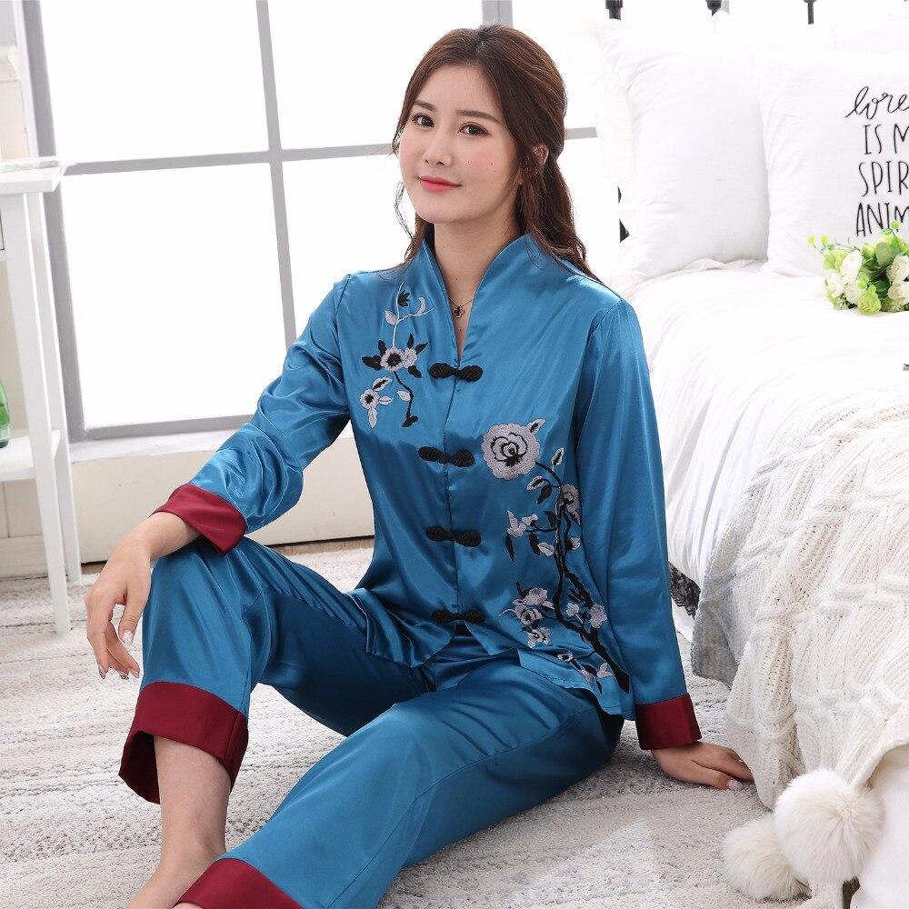 2PCS Chinese Style Women Embroidery Flower   Pajamas     Set   Hot Sale Satin Pyjamas Suit Novelty Button Sleepwear M L XL XXL 3XL