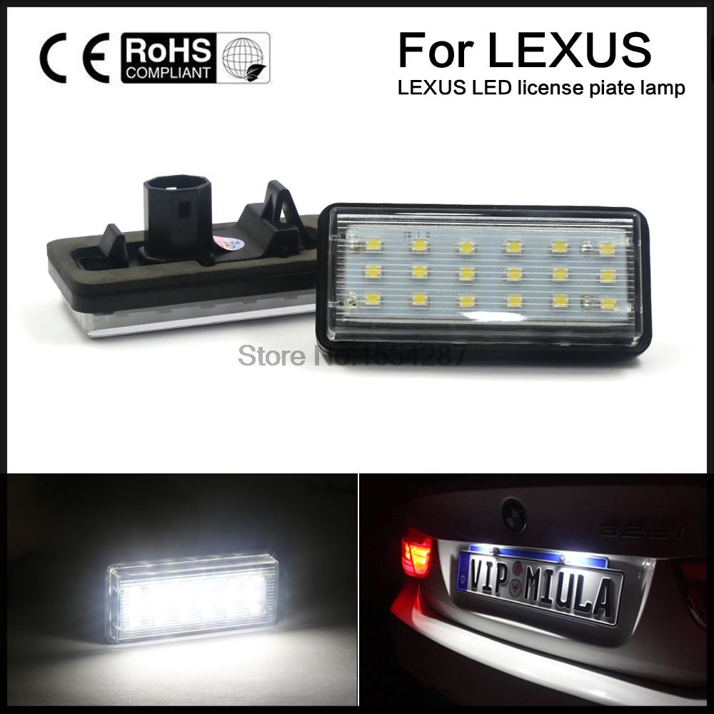 For Fit Toyota Land Cruiser Lexus LX GX470 Xenon White No Error Canbus 18SMD LED License Plate Light direct fit for kia sportage 11 15 led number license plate light lamps 18 smd high quality canbus no error car lights lamp