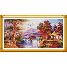 Everlasting Love Golden scenery (4) Chinese cross stitch kits  Ecological cotton clear printed 14 11CT DIY Christmas decorations