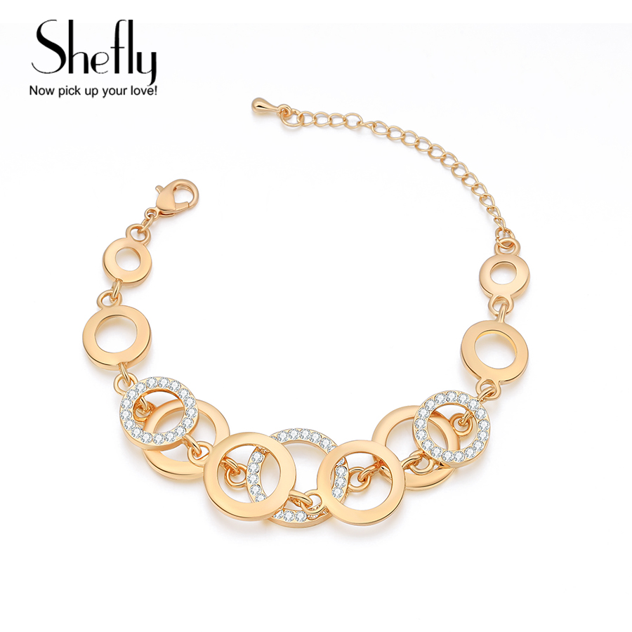 Circle Charm Chain Bracelet For Women Crystal Zircon Paved Round Silver Rose Gold Color Boho Bracelets Femme Jewelry Gift 2019