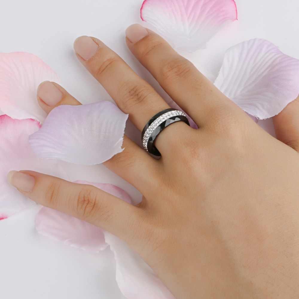 Baru Kedatangan Cincin Keramik Multi-faceted Hitam Putih Warna dengan 2 Baris Berlian Imitasi untuk Wanita Indah Fashion Perhiasan Pernikahan hadiah