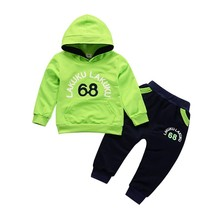 Spring Autumn Kid Boy Girl Clothes Set Child Letter Printing Hooded Jacket Long Trousers Casual Clothes Set wholesale 300pcs lot 2017 spring g air conditioning sunscreen back letter jacket for child girl