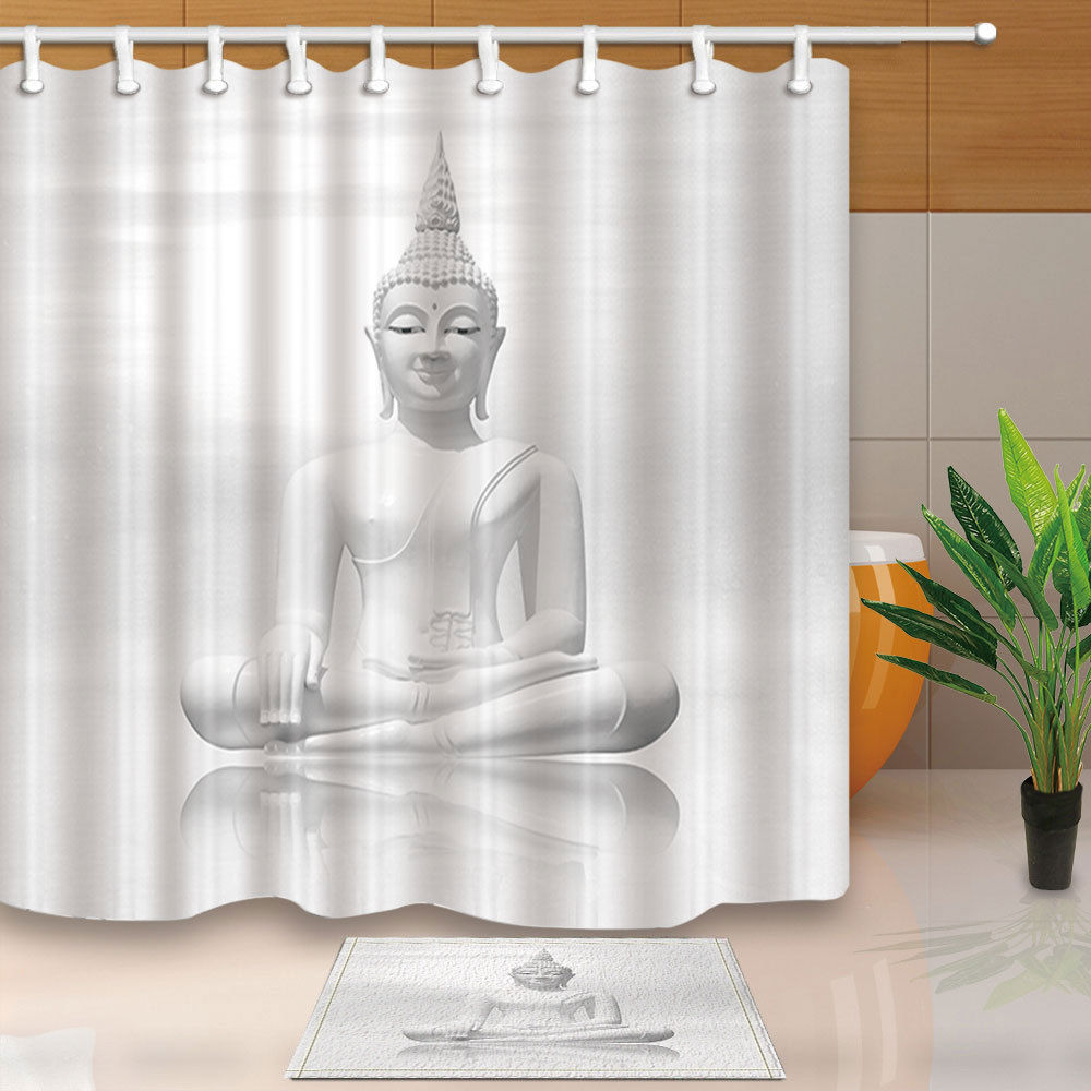 Buddha Statue Bed Bath Shower Curtain Sets Waterproof Fabric With 12 Hooks  WTS032