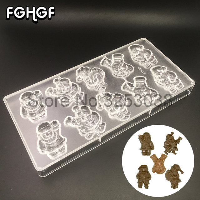 santa claus chocolate molds polycarbonate baking pastry tools for christmas candy chocolate making form tray bakeware - Christmas Candy Molds