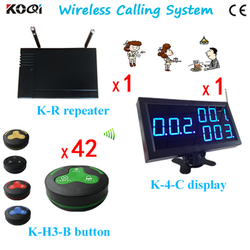Most Popular K-H3-BG Wireless Service Call Button+K-4-Cblue Good Performance Display + K-R Repeater Queue Management Sys