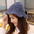Women Fancy Paisley Bucket Hat Waves Hem Knitting Hat With BowKnot