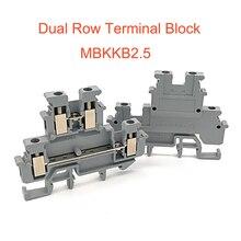 Шт. 50 шт. Din рейку двойной строка терминала Конструкторы MBKKB2.5 винт тип провода электрические двойной Терминалы Блок разъем morsettiera 24A