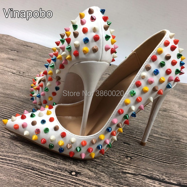 Brand Multi Colored Heels Shoes Pointed Toe Patent Leather Women Pumps Rivets Studded For Wedding Party