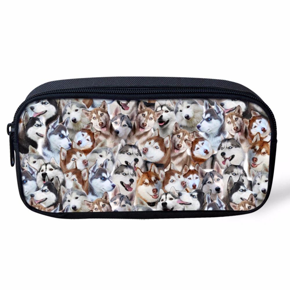 Funny Husky Pug Dog Print Puzzle Child Pencil Case Travel Women Cosmetic Bags Brand Girls Stationery School Supplies