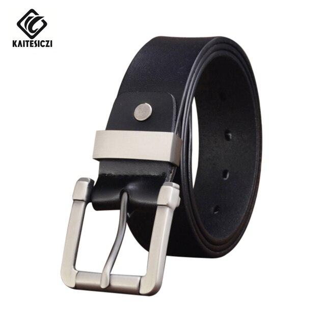 [KAITESICZI] 2017 New 100% cowhide genuine leather belts for men brand Strap male pin buckle fancy vintage jeans belts