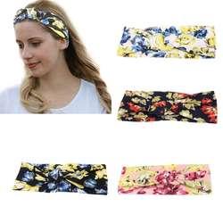 Для женщин обувь для девочек хлопок цветочный венок твист завязанные широкая головная повязка стрейч красочные