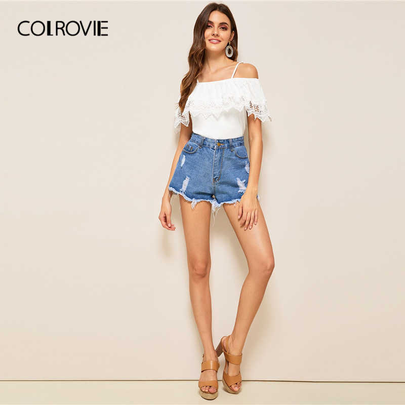 COLROVIE 白コールギピュールレーストリムトップ女性服 2019 夏カジュアル半袖 Tシャツレディースカットアウト Tシャツ