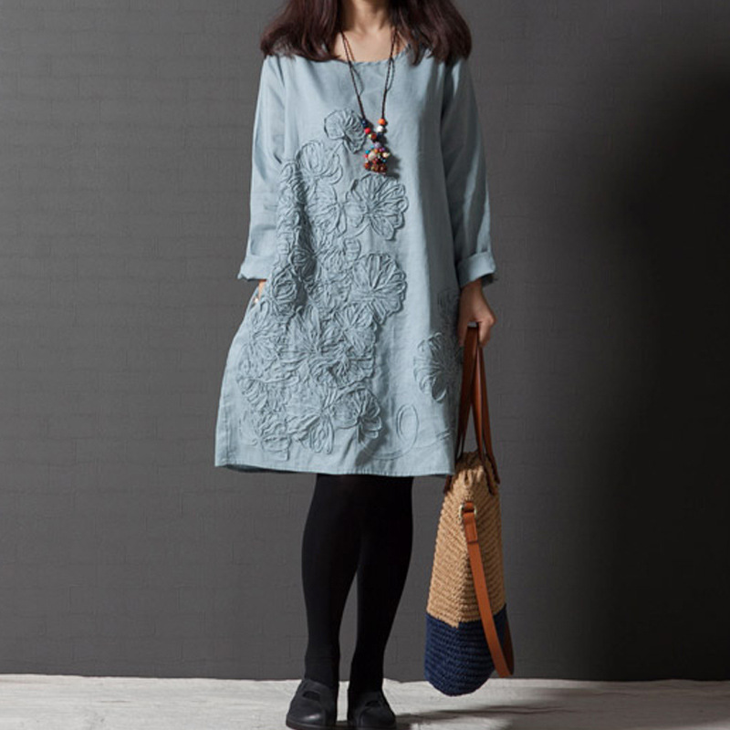 2018 Plus Size Maternity Clothes For Pregnant Women Cotton Linen Loose Style Embroidered Long Sleeve Dress For Pregnancy Women