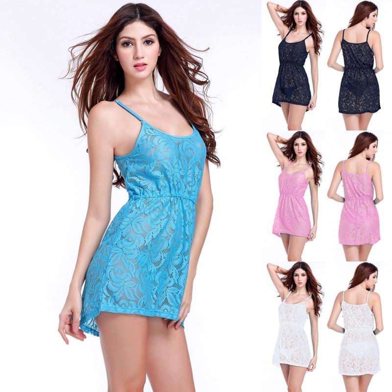 SWIMMART Hot Sales Match Bikini 2020 կարգավորելի ուսի լողափ ժանյակ զգեստ Կանացի սեքսուալ ժանյակով ծածկված զգեստ Plus Size 2XL
