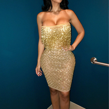Women Sexy Bling Tassel Sequin Crop Top and Skirt 2 Piece Set Stretch Strapless Shake Shinny Club Wear