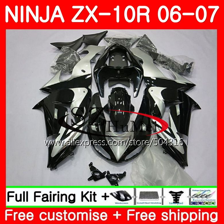 глянцевый черный кузов для Kawasaki Ninja Zx10r 06 07 Zx1000c 16sh9