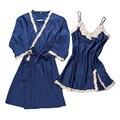 2017 spring nightwear bathrobe + night dress two pieces female sleepwear set silk pyjamas set hot sexy women's robe & gown set