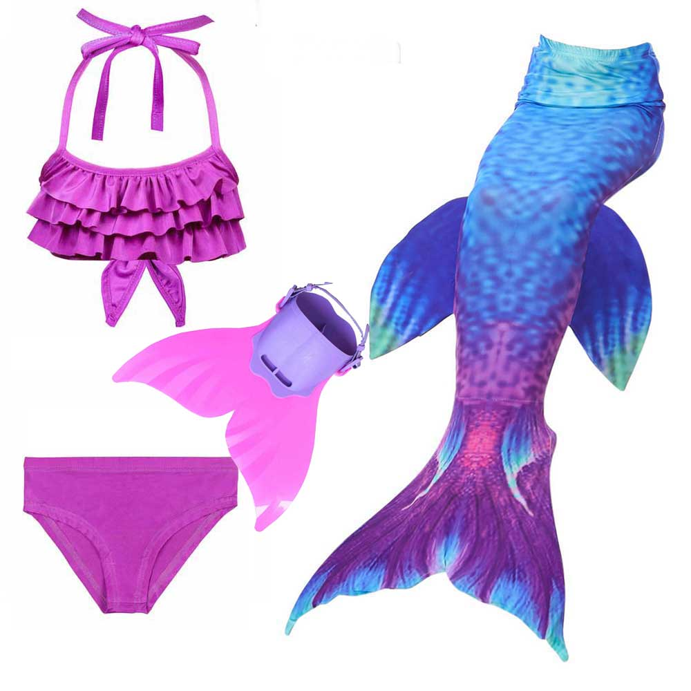 Mermaid Tails Girls 3 Pieces Swimsuit And Monofin Swimwear Children Kids Little Of Mermaid Tail For Swimming Cosplay Costume