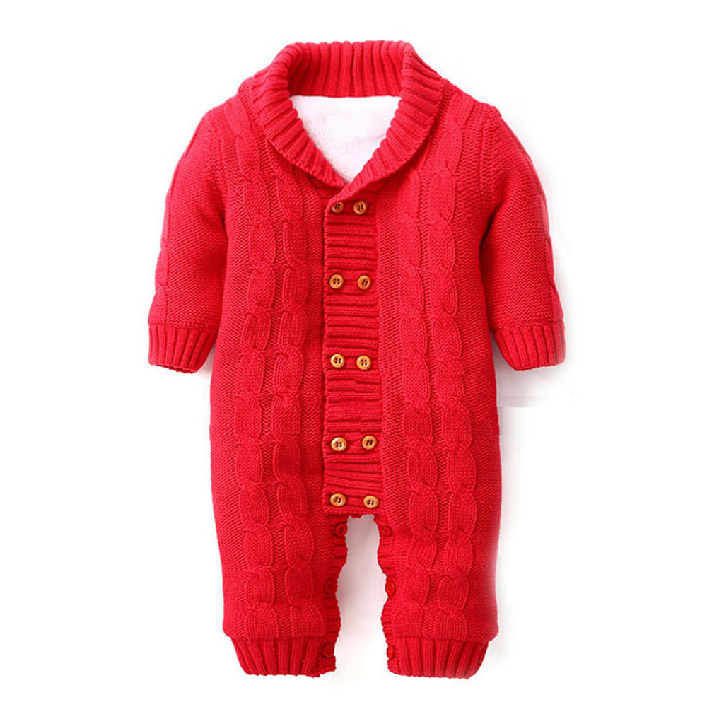 7fb681ae0 2019 Infant Newborns Baby Boy Girl Button Romper Lapel Knitted ...