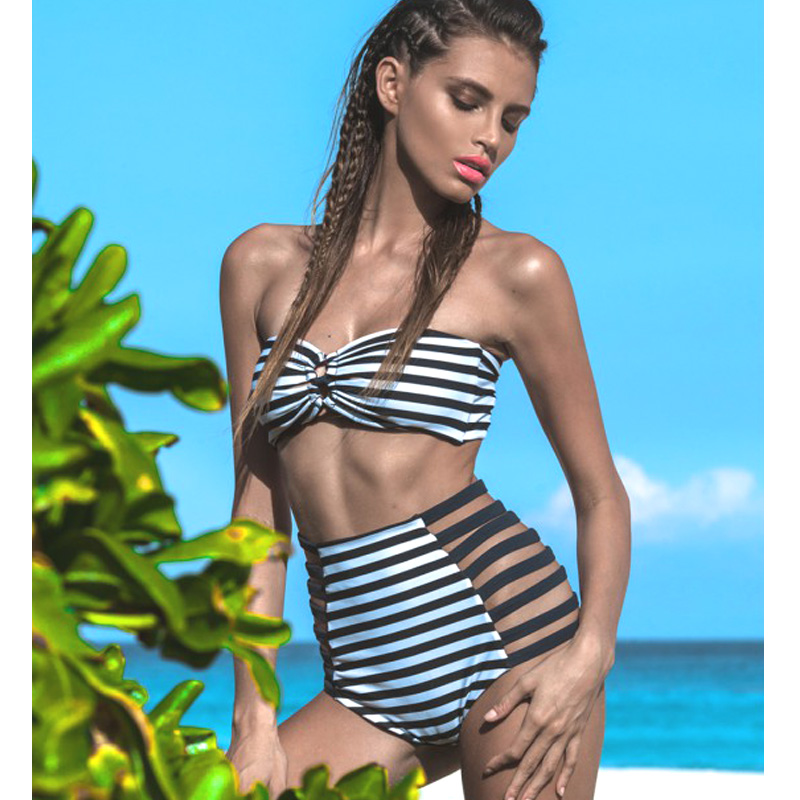 1048cf58ce127 Bikinis Women Vintage Striped Biknis High Waist Bottoms +Padded Cup Bra Bathing  Suits Brazilian Bikinis High Waisted 2 Pieces