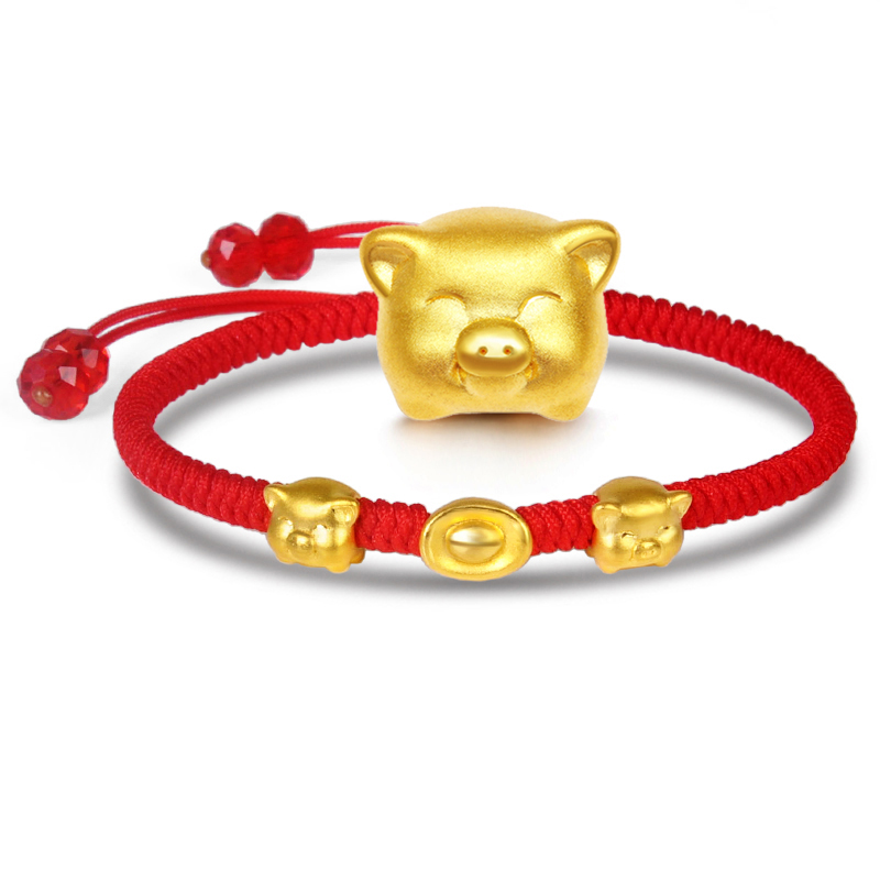 Pure 999 24K Yellow 3D Gold Year of the Pig Bracelet Ingot Little Pig Zodiac Weaving Red Rope For Women Men Bracelet 16cm Pure 999 24K Yellow 3D Gold Year of the Pig Bracelet Ingot Little Pig Zodiac Weaving Red Rope For Women Men Bracelet 16cm