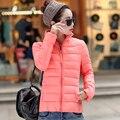 2016 novo Inverno magro das Mulheres Para Baixo projeto jaqueta curta outerwear moda gola de algodão pequeno de algodão-acolchoado casaco feminino