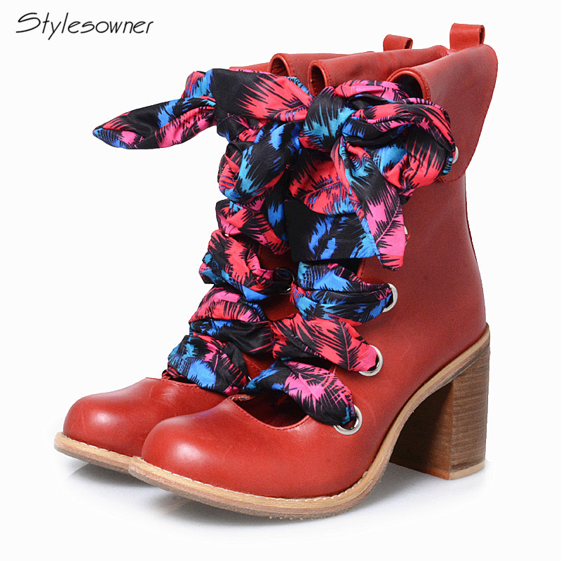 Stylesowner 2018 Women Half Boots Hollow Front Riband Lace Up Fashion Thick High Heels Boots Genuine Leather Thick Bottom Boots fashion lace up hollow front crop top in burgundy