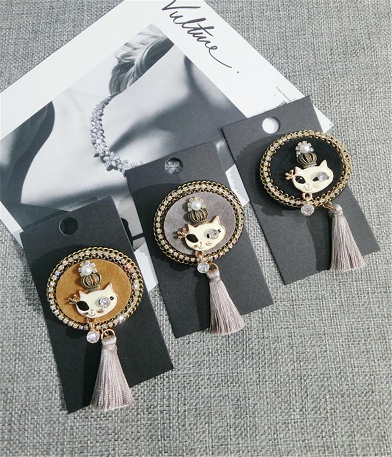 Korea Handmade Vintage Cartoon Cat Crown Tassel Rhinestone Badge Brooches Pins Fashion Jewelry Woman Accessories-JQGWBH051E
