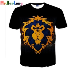 Mr.BaoLong New Summer Cool Game WOW tshirt Men DOTA tshirt Fashion For The Alliance Men tshirts Short Sleeve O-neck Lion Tops