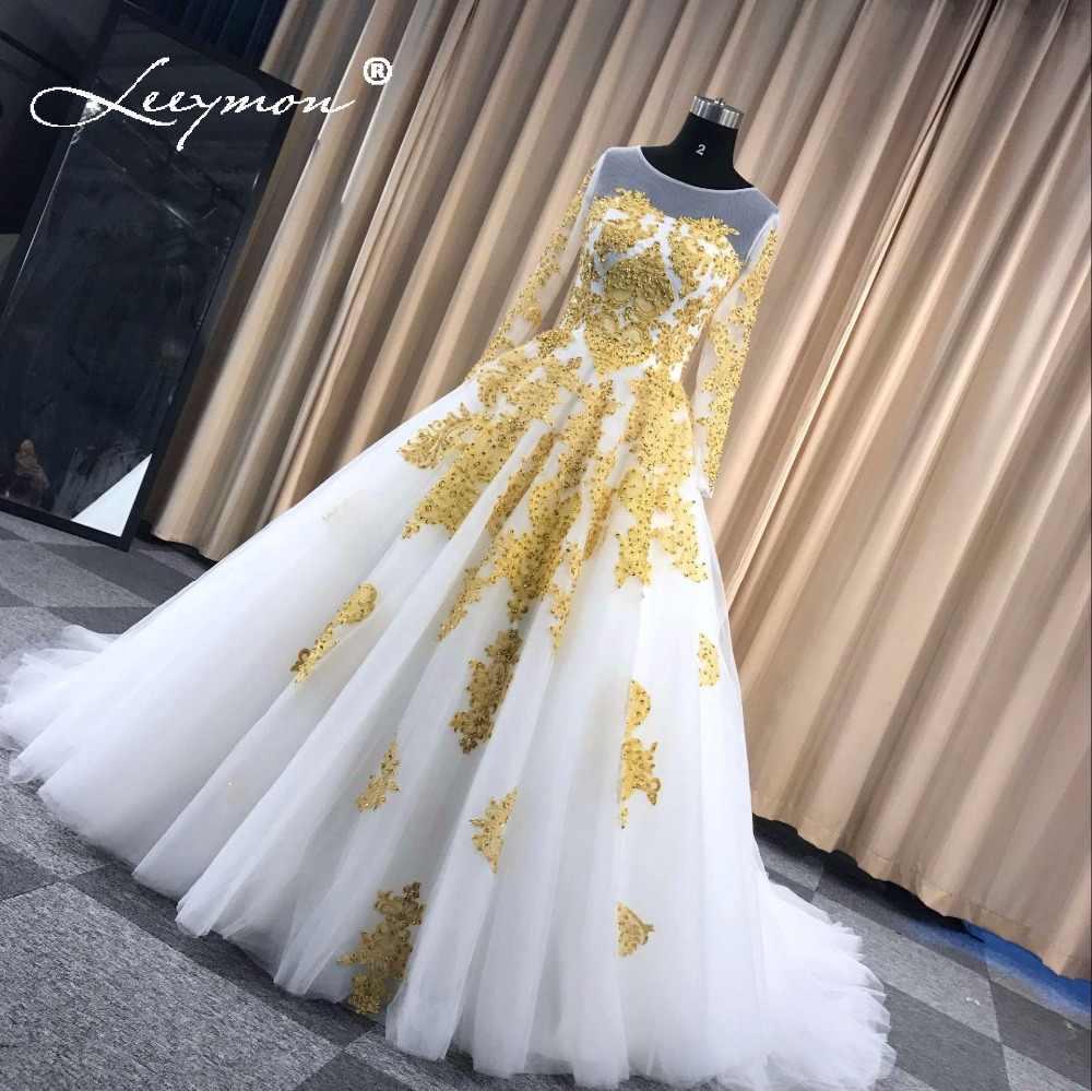 a0a295ab0fa7e9 ... Leeymon Muslim Wedding Dress In Dubai White and Gold Long Sleeves Wedding  Gown Beaded Lace Vestido ...