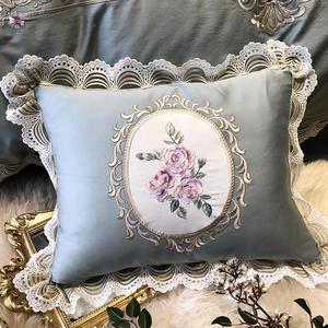 Image 5 - Роскошный комплект постельного белья из египетского хлопка королевского размера с вышивкой, пододеяльники, классический синий розовый комплект постельного белья