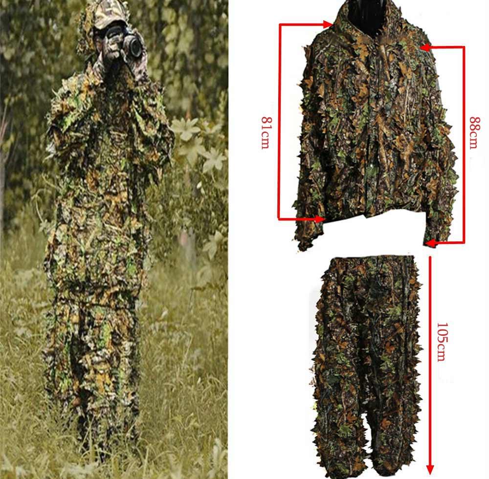 ✅Poliéster durable al aire libre Woodland Sniper Ghillie traje kit ...