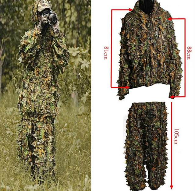 415e516f8c6fa Polyester Durable Outdoor Woodland Sniper Ghillie Suit Military 3D Leaf  Camouflage Camo Jungle Hunting Birding