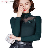 AKSLXDMMD Women Sexy Thick Velvet Blouses 2019 New Autumn and Winter Long Sleeve Shirt Casual Shirts Female Crop Tops LH1363