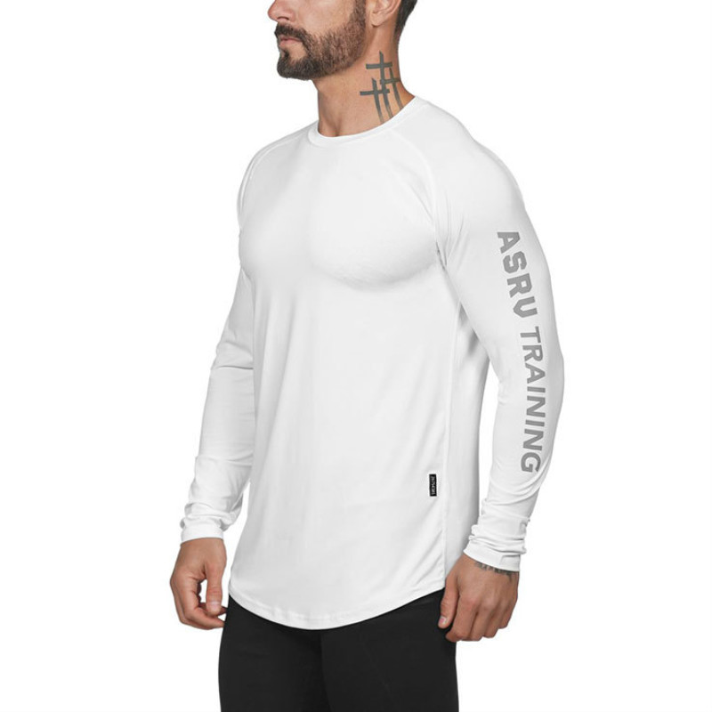 2019 Gym Fitness T Shirt Men Long Sleeve Sports Top Running T-shirt Workout Soccer Sweatshirt O-neck Sport Shirt Men