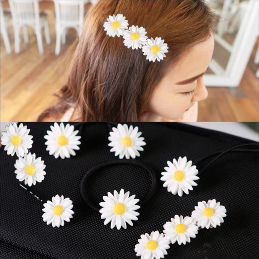 Ha hair accessories for sale - 6 Pcs Set On Sale Flower Elastic Hair Bands Rope Daisy Hair Ring Spiral Rubber