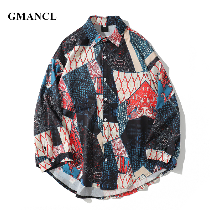 GMANCL New Men Personality Geometry Patchwork Loose Long Sleeve Shirts Fashion Printed Hip Hop Mens Curved Hem Casual Shirts